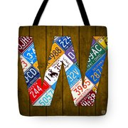 Letter W Alphabet Vintage License Plate Art Tote Bag
