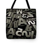 Letters And Numbers Gray Tones Tote Bag