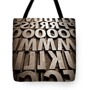 Letters Sepia Tote Bag
