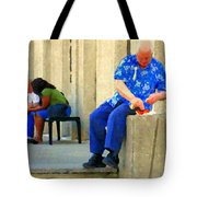 L'homme Orange Quiet Corner On St Catherine Street Downtown Montreal City Scene Carole Spandau Tote Bag