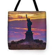 Liberty Statue Silhouette Sunset Tote Bag