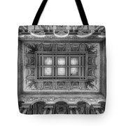 Library Of Congress Main Hall Ceiling Bw Tote Bag