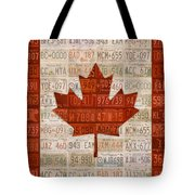 License Plate Art Flag Of Canada Tote Bag