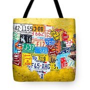 License Plate Art Map Of The United States On Yellow Board Tote Bag