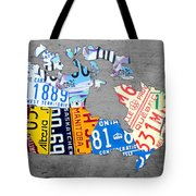 License Plate Map Of Canada On Gray Tote Bag