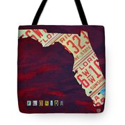 License Plate Map Of Florida By Design Turnpike Tote Bag