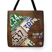 License Plate Map Of Minnesota By Design Turnpike Tote Bag