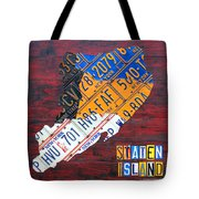 License Plate Map Of Staten Island New York Nyc Tote Bag