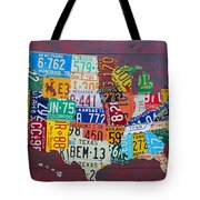 License Plate Map Of The United States Tote Bag