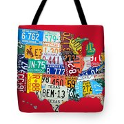 License Plate Map Of The United States On Bright Red Tote Bag
