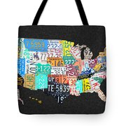 License Plate Map Of The United States On Gray Felt With Black Box Frame Edition 14 Tote Bag