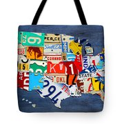 License Plate Map Of The United States - Small On Blue Tote Bag