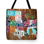 License Plate Map Of The United States - Warm Colors On Pine Board Tote Bag by Design Turnpike