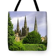 Lichfield Cathedral From The Garden Tote Bag