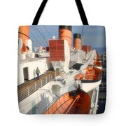 Life Boats 01 Queen Mary Ocean Liner Port Long Beach Ca Tote Bag