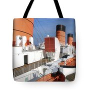 Life Boats 02 Queen Mary Ocean Liner Port Long Beach Ca Tote Bag