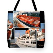 Life Boats Collage Queen Mary Ocean Liner Long Beach Ca Tote Bag
