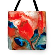 Life Force - Red Abstract By Sharon Cummings Tote Bag by Sharon Cummings