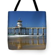 Life Guard Station Reflection On Ocean Sand At Huntington Beach City Pier Fine Art Photography Print Tote Bag