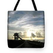Life Guard Tower And Jetty At Dawn 9-27-14 By Julianne Felton Tote Bag