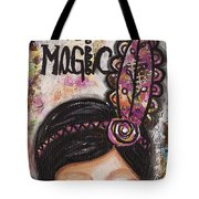 Life Is Magic Uplifting Collage Painting Tote Bag