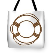 Life Preserver In Brown And White Tote Bag