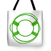 Life Preserver In Green And White Tote Bag