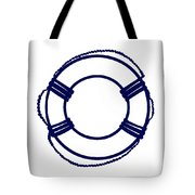 Life Preserver In Navy Blue And White Tote Bag