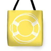 Life Preserver In White And Yellow Tote Bag