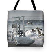 Lifeguard Station With Flying Gulls At A Lake Huron Beach Tote Bag