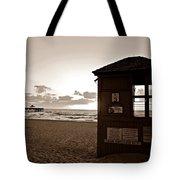 Lifeguard Tower Sunrise In Sepia Tote Bag