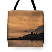 Lifting Fog At Sunrise On Campobello Coastline Tote Bag