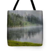 Lifting Fog On The Yellowstone River Tote Bag