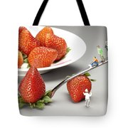 Lifting Strawberry By A Fork Lever Food Physics Tote Bag