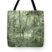 Light Forest Scene Tote Bag