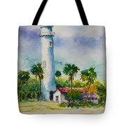 Light House At The Beach Tote Bag