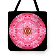 Light Red Zinnia Elegans Flower Mandala Tote Bag by David J Bookbinder