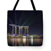 Light Show At Marina Bay Sands Hotel And Casino II Tote Bag