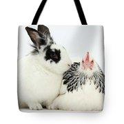Light Sussex Bantam Hen And Rabbit Tote Bag