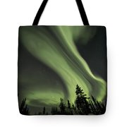 Light Swirls Over The Midnight Dome Tote Bag by Priska Wettstein