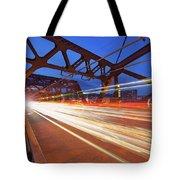 Light Trails On Broadway Bridge Tote Bag