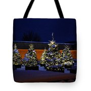 Lighted Trees With Snow Tote Bag