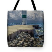 Lighthead At The End Of The Pier In Pentwater Michigan Tote Bag