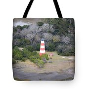 Lighthouse Aerial Near Jekyll Island Tote Bag
