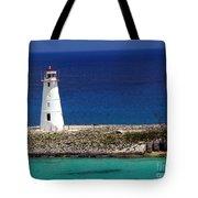 Lighthouse Along Coast Of Paradise Island Bahamas Tote Bag