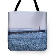 Lighthouse And A Sailing Boat Tote Bag