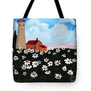 Lighthouse And Daisies Tote Bag