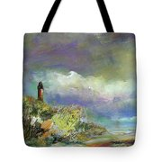 Lighthouse And Fisherman Tote Bag