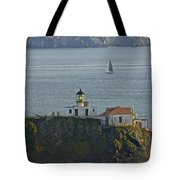 Lighthouse And Sailboat Tote Bag
