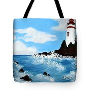 Lighthouse And Sunkers Tote Bag
